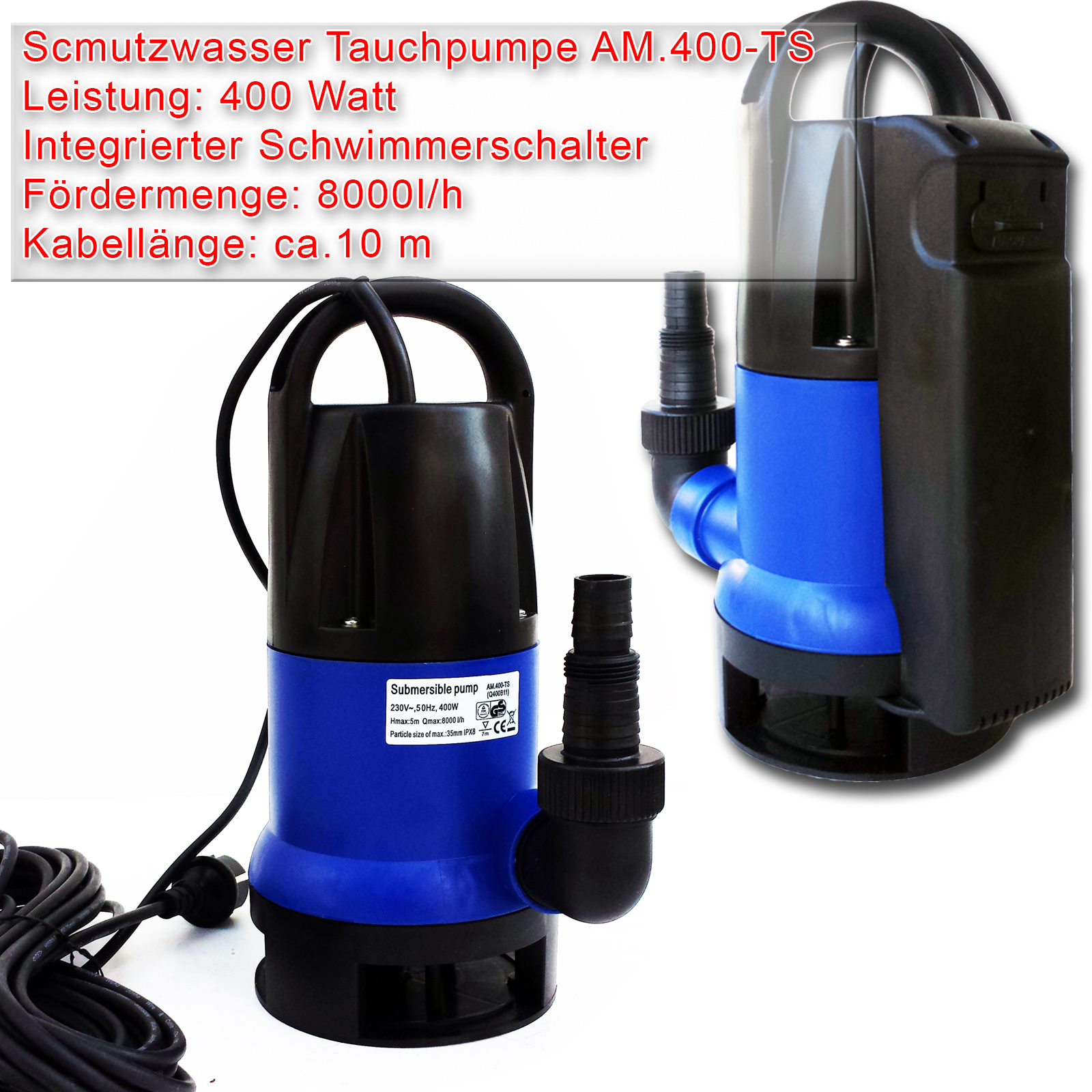 tauchpumpen 250w 400w gartenpumpe klarwasserpumpe schmutzwasserpumpe brunnen ebay. Black Bedroom Furniture Sets. Home Design Ideas